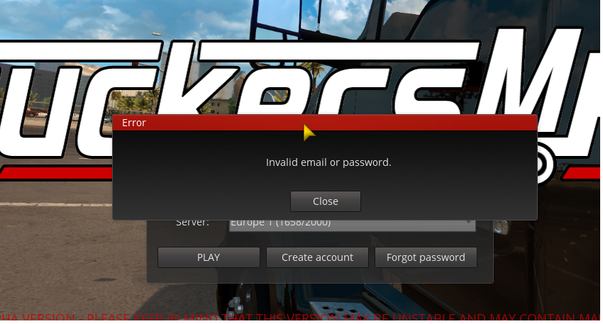 Invalid email or password - Solved Topics - TruckersMP Forum